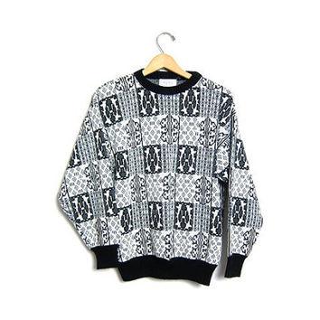 Slouchy Sweater Grey Geometric Sweater 80s Men White Abstract Bill Cosby Sweater 1980s Vintage Slouchy Black Small Medium Large
