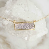 Light Druzy Bar Necklace