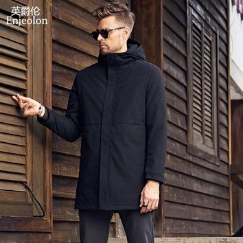 Cotton Padded Jacket long coat Men black Parka hoodies coat Thick Quilted fashion Coat Men