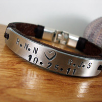 FREE SHIPPING - Men's Bracelet, Leather Men Bracelet,Hand press Aluminum plate.Personalized men's Leather Bracelet, Men Gift. Valentine gift