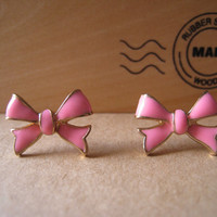 Pink Ribbon Bow Earrings Posts by Bitsofbling on Etsy