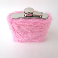 NEW Kawaii Pastel Pink Faux Fur Women's Hip Flask Case, Fuzzy Cute 6 oz Flask, 21st Birthday, Bridesmaids, Whiskey Girl, Girls Go Wild