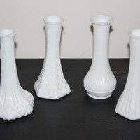 Set of four small vintage milk glass vases - White glass, single stem vase, hobnail vase, white decor, vintage glass