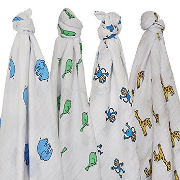 Muslin Swaddle Blankets - 4 Pack, By Ickle1 Unisex X - Large Best Newborn Receiving Blankets for Boys & Girls in Stylish Designs - 100% Muslin Soft Cotton Baby Swaddle Wrap And Best Baby Gift
