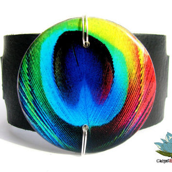 Peacock Leather Cuff Bracelet Italian Leather by CaughtREDhanded