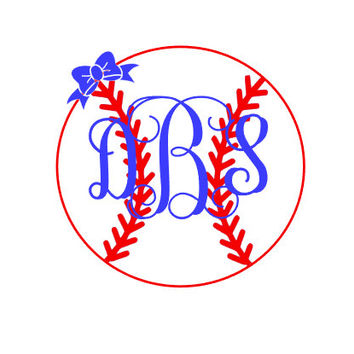 Baseball Vine Monogram with Bow Decal Vinyl Decal  Personalized Monogram Girly Baseball Softball Decal Preppy