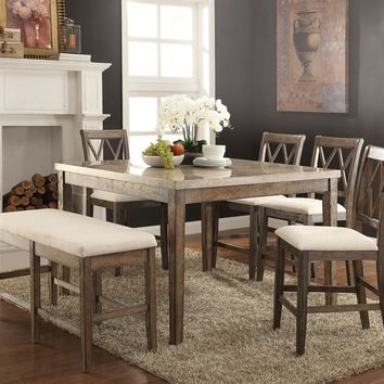 Acme 71720-22-23 6 pc claudia salvage brown finish wood marble top counter height dining table set