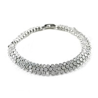 Emily Cluster Round Silver Tennis Bracelet – 7in