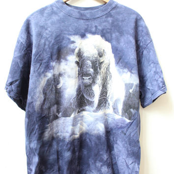 Mystical Bison Tie Dye 90s T Shirt