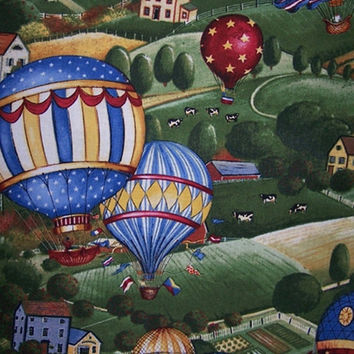 30% Off New Year Sale 1 Yd. Hot Air Balloons Country Cows Cotton Quilt Sewing Fabric