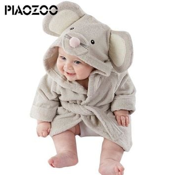 Cute Boys Girls cartoon animal hooded towelling robe Bathrobe coral fleece sleepwear Infant Bathing robe long Baby Clothing P20
