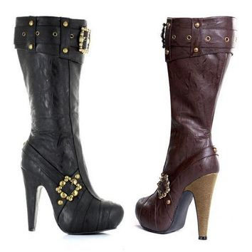 """4"""" Knee High Steampunk Boots With Buckles And Studs. Women"""