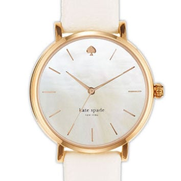 kate spade new york 'metro' round leather strap watch   Nordstrom