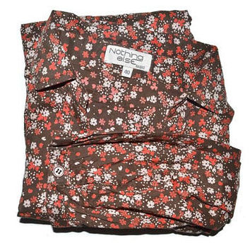 Vintage Brown Floral Button Up Blouse Womens Cotton Shirt 3 4 Sleeve