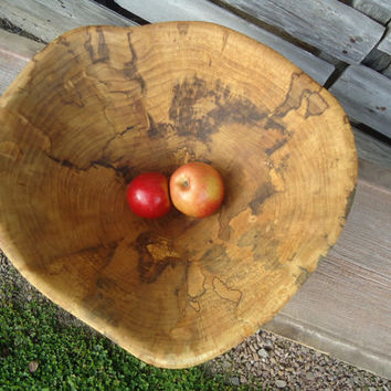Large Spalted Maple wood bowl - Hand carved wood bowl - Spalted Maple wood - Office artwork - Home decor - Fruit bowl - Kitchen island decor