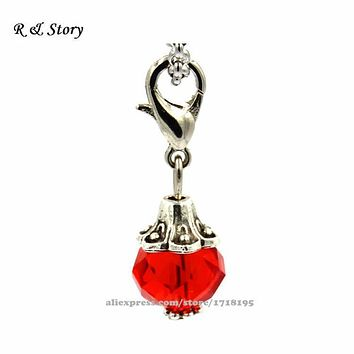 Red Crystal Dangle Charm Beads Antique Silver Tone fit Floating locket jewelry necklace LFD_008