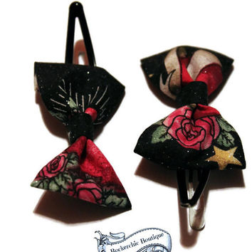 Fabric Bows - Glam Rock, Rockabilly Baby, Small Hair Bows, Womens, Adult - Stocking Stuffer, Snap Clip, Black, Roses, Stars, Hair Bow Set