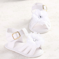 2016 Hot Selling Baby Girl Summer White Flower Infant Soft Sole Princess Shoes Girls First Walkers 0-18 Months