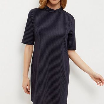 Blue Pinstripe Funnel Neck Mini Dress
