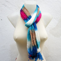 Infinity Cowl, Handmade scarf, Hand Knit Cowl, infinity scarf, circle scarf, Blue, Pink, Cream, Hand Knit Scarf