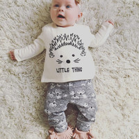 New 2017 baby girl clothes cotton long sleeved t-shirt+pants newborn infant 2pcs suit baby clothing sets size 60-100