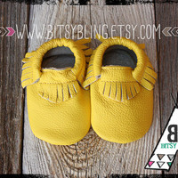 LEMON YELLOW Genuine Leather Baby and Toddler Moccasins - 4 sizing options from 0-24 months