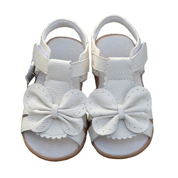 2017 New Summer Children Sandals for Girls Genuine Leather Bowtie Princess Shoes Kids Beach Sandals Baby Toddler Shoes White