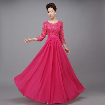 New 2017 autumn summer new lace Three Quarter sleeve Rose red long bridesmaid dress costume full dress lace blue formal dress