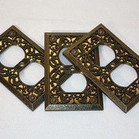Vintage Outlet Covers,  Metal Flower Switch Plates, DIY