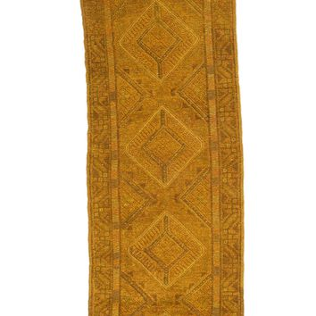 2x9 Overdyed Vintage Tribal Gold Runner 2507