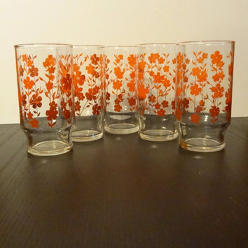 Vintage Orange Floral Ombre Drinking Glasses set of 5 - Retro - Mid Century Modern