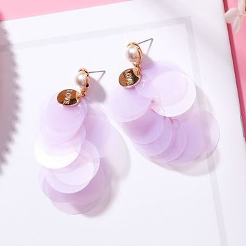 Korean Round Sequins Long Tassel Drop Earrings Summer Simulated Pearl Earring for Women Beach Holiday Seaside Jewlery Gift