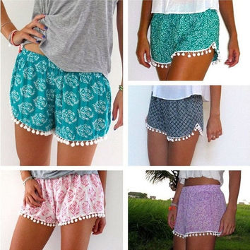Hawaii Style Women Ball Tassel Hem Leaf Printed Beach Shorts Pants S-XL = 5618501249