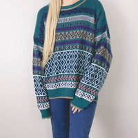 Vintage Teal Tribal Aztec Knit Sweater
