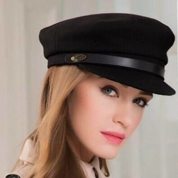 Winter Fashion Women Vintage Wool Black Military Hats Caps For Female Casual Casquette Bone Yacht Captain Hats M9010