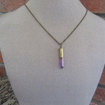 Bullet Casing Quartz Crystal Necklace Jewelry Garnet Rainbow Coated Bullet Casing Upcycled Azeetadesigns