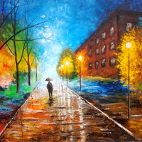Original Huge Oil Painting  Walk In The Rain  by GargoviArtGallery