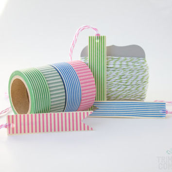 Striped Pack - Washi Tape - Scrapbooking Adhesive - Bakers Twine - Divine Twine