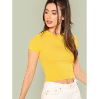 Rib Knit Crop Fitted Tee Yellow
