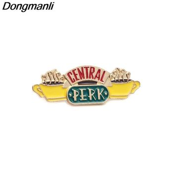 P2848 Dongmanli Friends TV Show jewelry Central Perk Coffee Time Metal Enamel Pins and Brooches for Women Men Lapel pin badge