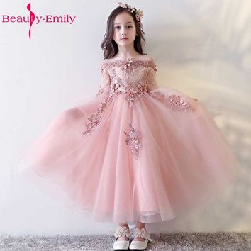 Beauty Emily Pink Beads Flower Girl Dresses 2017  Appliques Half Sleeve Organza A-line Zipper Wedding Party Prom Dresses