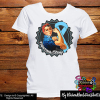 Light Blue Ribbon Fighting Strong Rosie The Riveter Shirts (Addison's Disease, Behcets Disease, Graves Disease, Lymphedema, Thyroid Disease)