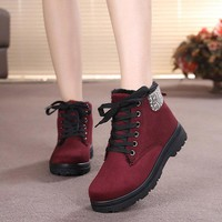 Pattern Ankle Suede Fur lining Lace Up Flat Boots