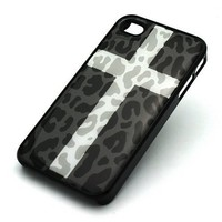 BLACK Snap On Case IPHONE 4 4S Plastic Cover - SNOW CROSS LEOPARD cheetah cougar lion camo white