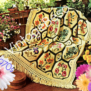 Afghan Crochet Pattern Vintage 1970s Country Garden Afghan Simple Afghan Stitch Embroidery Flowers Crewel Yarn Instant Download PDF Pattern