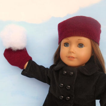 18 Inch Doll Hat and Mittens, Wine Felted Wool Hat and Mittens, Russian Style Hat fits American Girl Dolls, Winter Doll Clothes, Upcycled