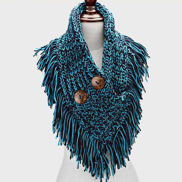 Knitted Infinity Fringe Button Teal Scarf