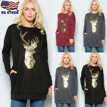 Women's Christmas Sequin Deer Long Sleeve T Shirt Casual Tops Blouse Pullover US