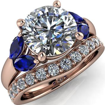 Adrenne Round Moissanite 4 Prong Double Blue Sapphire Marquise Side Ring