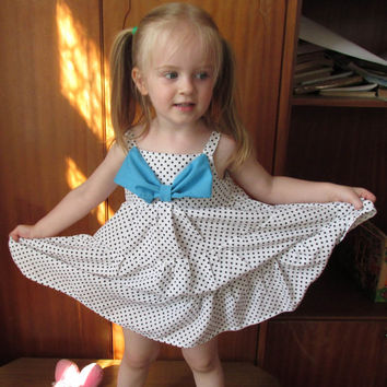 White toddler dress with blue bow, baby wedding dress, summer dress, big bow girl dress